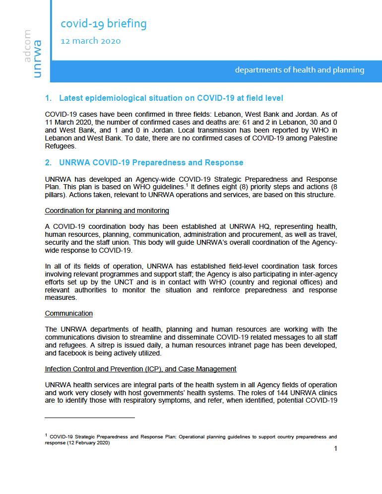 Informe COVID-19. Como esta actuando UNRWA frente a la pandemia