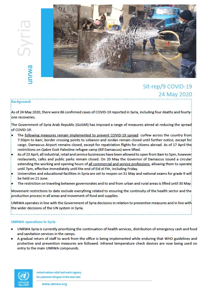 Informe de situación de las personas refugiadas de Palestina en Siria. COVID-19
